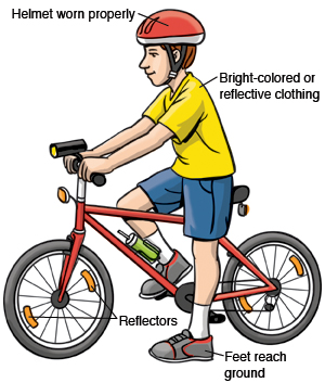 Child on bicycle using safety features such as helmet, reflective clothing, and reflectors. Child's feet reach the ground.