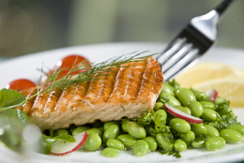 Grilled salmon and edamame.